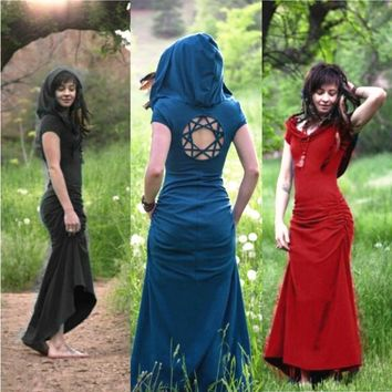 Pagan Princess Fashion Solid Color Sleeveless Hooded Slim Long Maxi  Dress