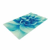 """Graphic Tabby """"Blue Beauty"""" Teal Floral Woven Area Rug"""