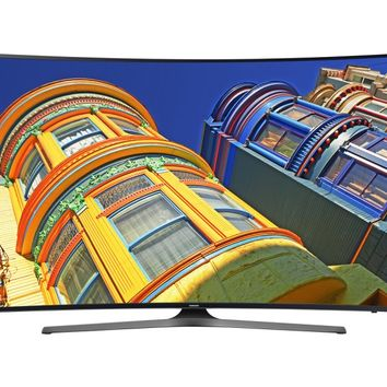 """Samsung - 55"""" Class - (54.6"""" Diag.) - LED - Curved - 2160p - Smart - 4K Ultra HD TV - Silver"""