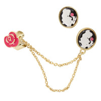 Disney Beauty And The Beast Rose Cuff Earring Set