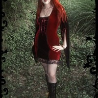 Jessamine Velvet Fairy Dress in Velvet - Custom Elegant Gothic Clothing and Dark Romantic Couture