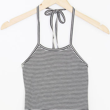Ribbed Stripe Halter