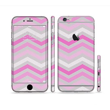 The Wide Pink Vintage Colored Chevron Pattern V6 Sectioned Skin Series for the Apple iPhone 6 Plus