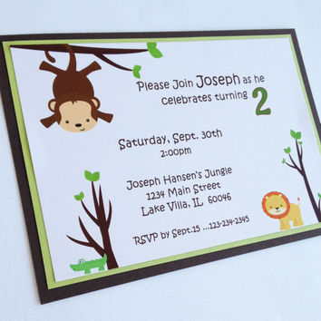 Jungle Birthday Invitation Custom Jungle Themed Invitation Boy Birthday  Lion Monkey Alligator Jungle Invite Child Animal Party Invitation