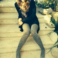 Funky Love Text Print Tights Medium Grey & Black By Efrat - TrendyLegs