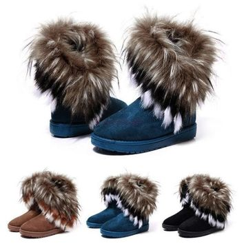 Women Fashion Winter Fox Rabbit Fur Tassel Suede Snow Real Leather Boots 9125 Women's shoes