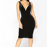 Light Up Velvet Glitter Dress - Black