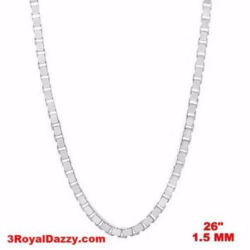 """Italy 14k white gold layered over Solid 925 sterling silver Box Chain- 1.5mm 26"""""""