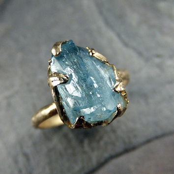 Raw Aquamarine Ring Solid 14K Gold Ring One of a Kind Uncut Rough Gemstone Ring Statement Ring Stacking Ring Cocktail Ring byAngeline