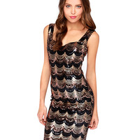 Black and Gold Sequined Wave Striped Sleeveless Mini Dress