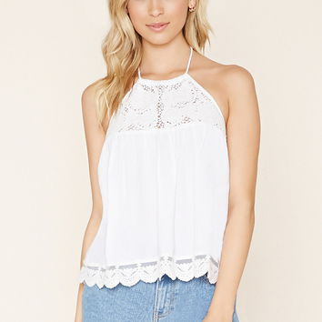 Lace-Paneled Halter Top