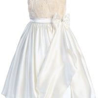 Ivory Satin & Mesh Floral Ribbons Girls Dress with Gathered Front Skirt (Girls 2T - Size 14)