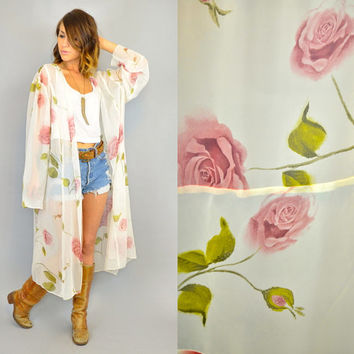 vintage 1990s sheer LONG STEM ROSE bohemian maxi loungewear duster robe, one size fits all