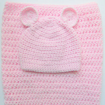 Pastel Pink Baby Cocoon And  Hat With Ears  0 To 6 Months Girl Sleep Sack And Cap Set Infant Bunting  And Beanie Newborn Swaddle Shower Gift