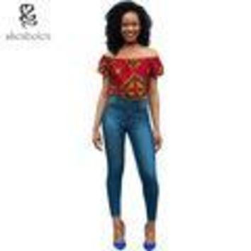 Yvette Ankara print cold shoulder croptop