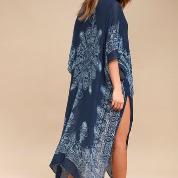 Exotic Sol Mint and Navy Blue Print Kimono