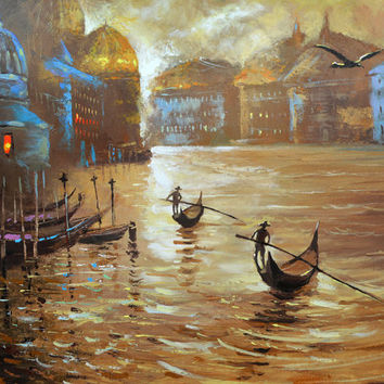 "Gandouliers. Modern Art. Oil Painting on canvas by Dmitry Spiros.  Size: 28""x36"" (70 x 90 cm)"