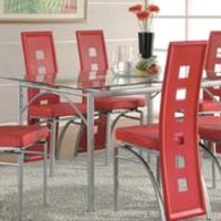 AE506DT Red&Black Table + 4 Chairs 506-104 American Eagle Casual Dining Sets at comfyco.com furniture store