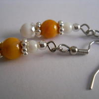 Dark Tan Mustard Yellow Eco-Friendly Mother of Pearl Shell Earrings White Dangle Silver Czech Glass Beaded Jewelry