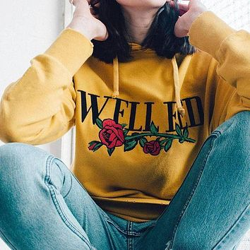 Fall Winter Fashion Print Hoodies Long Sleeve Yellow Sweater Top