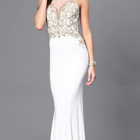 Long Ivory Illusion Sweetheart Prom Dress