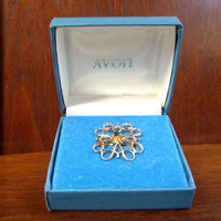 Avon 10K Gold Blue Sapphire Collar Service Brooch Pin in Box