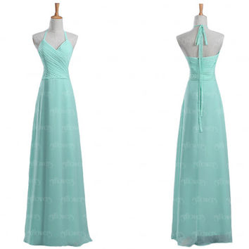 halter mint bridesmaid dress, chiffon bridesmaid dress, Long bridesmaid dresses, cheap bridesmaid dresses, 2015 bridesmaid dress, dresses