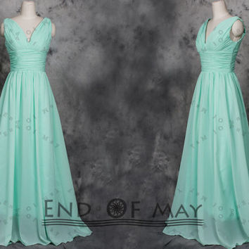 V Neck Two Shoulder Long Prom Dresses,Prom Dresses,prom dress,prom dress long,long prom dress,chiffon prom dresses,beading prom dresses