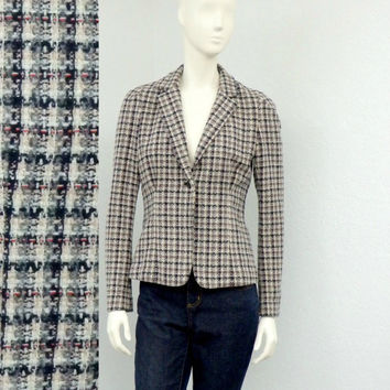 Vintage 90s DKNY Tweed Blazer Jacket, Cropped Blazer, Checked Blazer, Wool Blazer, Womens Outerwear, Business Casual, Work Clothes