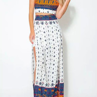 2Pcs Printed Backless Cropped Top With Maxi Slit Skirt Set