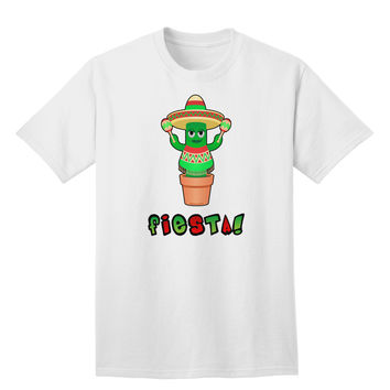 Fiesta Cactus Poncho Text Adult T-Shirt