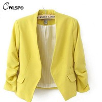 New Autumn short jackets Candy Color Women outwear Spring Slim Short Design Suit Coat