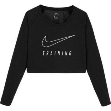 ESBON Nike Casual Long Sleeve Crop Top Shirt Sweater Pullover