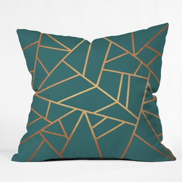 Elisabeth Fredriksson Copper and Teal Throw Pillow