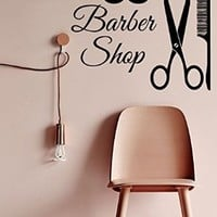 Wall Decor Vinyl Decal Sticker Scissors Comb Mustache Men Barber Shop Beauty Salon Bedroom Living Room Home Interior Design Kg861