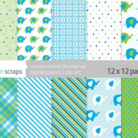 baby elephant digital scrapbooking paper pack commercial use - blue and green elephants - INSTANT DOWNLOAD