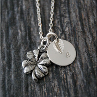 Silver Lucky Clover Charm Necklace, Initial Charm Necklace, Personalized, Shamrock Charm, Clover Pendant, Lucky Charm Jewelry
