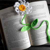 Book bookmark, Crochet Bookmark, bookmark, flower bookmark, book, Flower, White, Yellow, Green, Gift Ideas