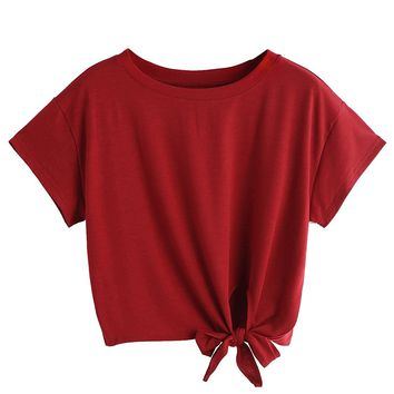 Red Burgundy Pink Tied Knot Women's Loose Short Sleeve Crop Top T-Shirt