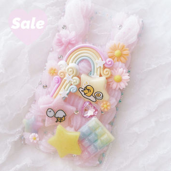Rainbow Cute Egg Note 4 Phone Case, Kawaii Phone Case, Decoden Whip Case, Rainbow Phone Case, Kawaii Cabochon, Note 4 Case, Kawaii Egg Case