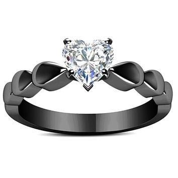 Heart Shape White CZ Diamond Ring In Black Gun Metal Frame