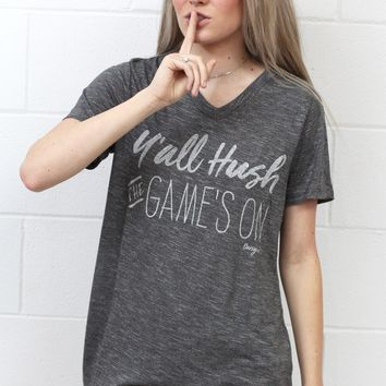 Y'all Hush the Game's On V-neck {H. Charcoal}