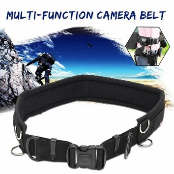 Outdoor camping hiking Adjustable Camera Waist Padded Belt Lens Case Pouch Bag Strap With 8 Ring for outdoor photography