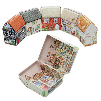 1PCS Retro Vintage Dream House Tinplate Storage Tin Box Coin Bag Jewelry Box Tea Biscuits groceries Storage Box Hot Sell