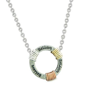 Inspirational Believe Ring Rose-Yellow-Gold-Silver-Tone Tri Color Amulet Pendant 18 Inch Necklace