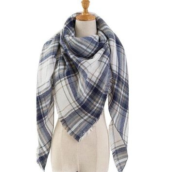 Black Plaid Winter Scarf