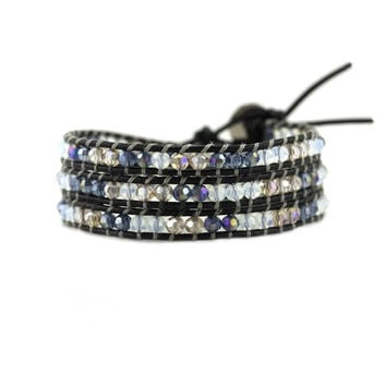Midnight Mix on Black Leather Wrap Bracelet