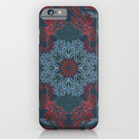 Vintage Fancy - a Pattern in Deep Teal & Red iPhone & iPod Case by Micklyn