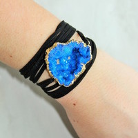 ROYAL BLUE ON BLACK WRAP BRACELET