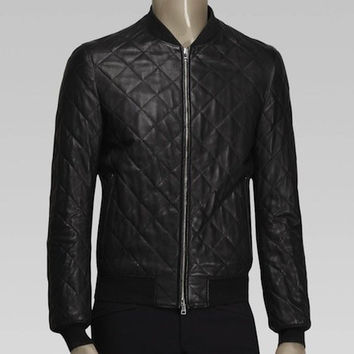 Mens Quilted Djon Leather Bomber Jacket (LIMITED TIME)
